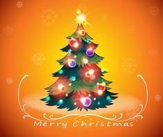 Um design de cartão de natal com uma árvore de natal cintilante vetor