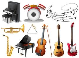Jogo, de, musical, instrumentos vetor