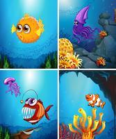 Animais marinhos nadando no oceano vetor