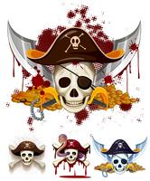 Logotipo do tema pirata com caveiras vetor