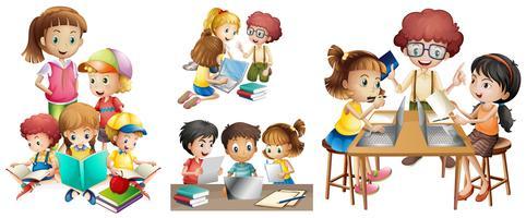 Muitas crianças fazendo atividades diferentes vetor