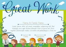 Design de certificado com crianças e professor de fundo vetor