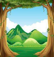 Cena da natureza com fundo de colinas vetor