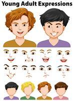 Expressões de jovens com rostos diferentes vetor