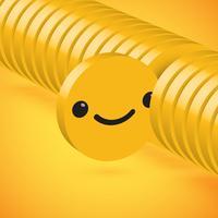 Emoticon amarelo elevado detalhado do disco 3D selecionado, ilustração do vetor