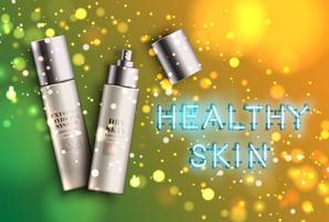 Frascos hidratantes altamente detalhados com sinal de néon 'pele saudável', ilustração vetorial
