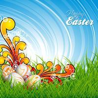 ilustração de Páscoa com ovos de cor pintada no fundo da Primavera