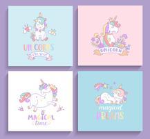 Conjunto de cartões de unicórnios mágicos.
