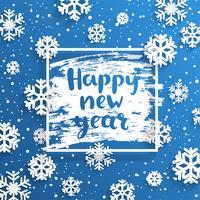 Feliz Moldura quadrada de ano novo com flocos de neve ao redor