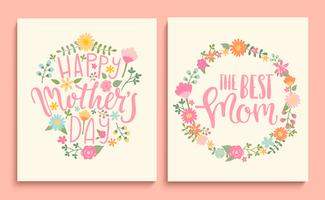 Conjunto de cartões de dia das mães feliz. vetor
