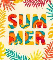 Cartão de verão com folhas tropicais no fundo.
