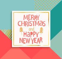 Feliz ano novo e feliz Natal cartão. vetor