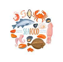 Grupo de ícones do seafod no estilo dos desenhos animados, vetor.