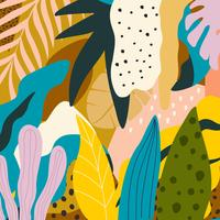 Selva tropical, folhas, e, flores, fundo vetor