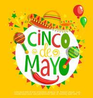 Cinco De Mayo, lettering em fundo de férias. vetor
