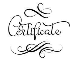 palavra do certificado com flourish no fundo branco. Caligrafia, lettering, vetorial, ilustração, EPS10
