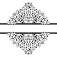 Quadro vintage ornamental. Ilustração vetorial em cores preto e brancas