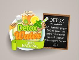 Receita de detox coquetel de chá, limão, gengibre, mel, hortelã. vetor
