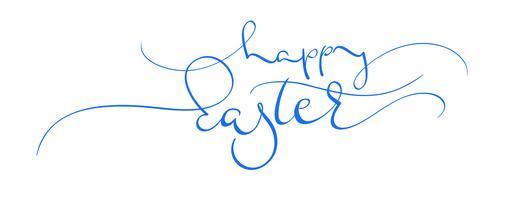texto azul feliz do vetor de easter no fundo branco. Caligrafia, lettering, ilustração, EPS10