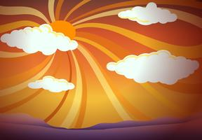 Uma visão do sol com nuvens vetor