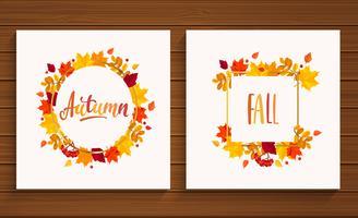 Cartões de outono e outono.