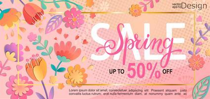 Folheto de venda de primavera, banner. vetor