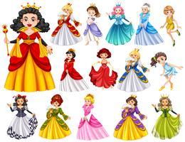 Conjunto de lindas rainhas e princesa vetor