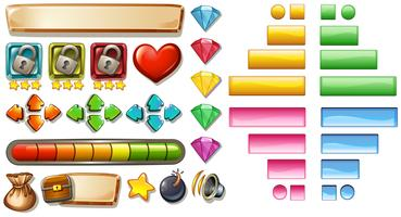 Elementos do jogo com botões e barras vetor