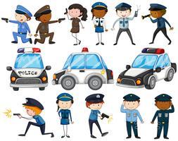 Conjunto de policiais e carros vetor