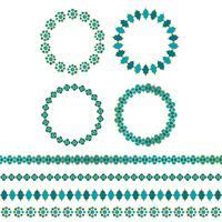 quadros de círculo marroquino ouro azul e padrões de fronteira vetor