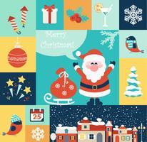 Conjunto de ícones plana de Natal. vetor