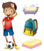 Um, jogador futebol, com, seu, mochila, e, banheiro, materiais vetor