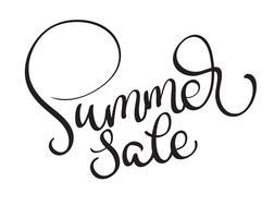 texto do vetor da venda do verão no fundo branco. Caligrafia, lettering, ilustração, EPS10