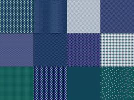 pequenos padrões geométricos verdes azuis vetor