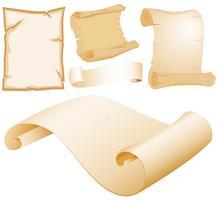 Papéis de pergaminho em diferentes modelos vetor