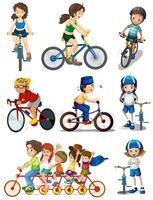 Pessoas biking vetor