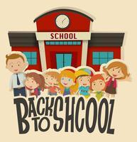Professores e crianças na escola