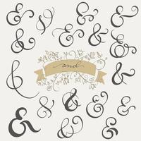Sinal e Ampersand ajustados do vintage do vetor no fundo branco. Caligrafia, lettering, ilustração, EPS10