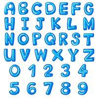 Design de fonte para alfabetos e números em inglês vetor