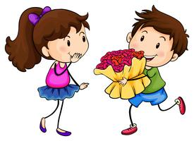 Um menino com um buquê de flores vetor