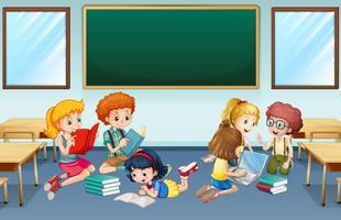 Muitas crianças lendo e trabalhando em grupo na escola vetor