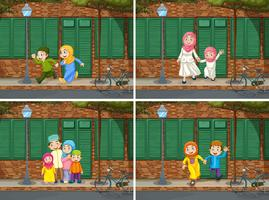 Família muçulmana no bairro vetor