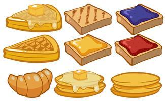Diferentes tipos de pão no café da manhã vetor