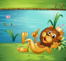 Um leão com uma coroa vetor