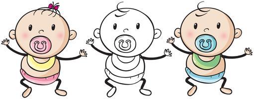Menino bebê menina vetor