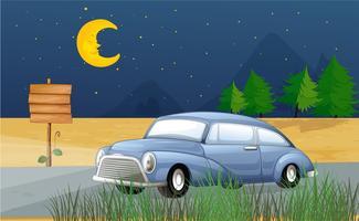 Um carro correndo no meio da noite vetor