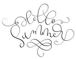 Olá texto de verão em fundo branco. Mão desenhada caligrafia letras ilustração vetorial Eps10