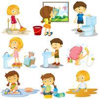 Crianças, fazendo, diferente, tarefas vetor