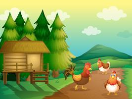 Uma fazenda com galinhas e uma casa nativa