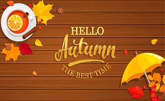 Olá banner de outono em fundo de madeira. vetor